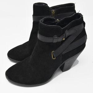Dolce Vita Sz 7.5 Black Suede Ankle Zip Up Heels